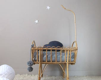 Cradle rattan doll rattan crib for dolls, bed doll, bed old, vintage french bed