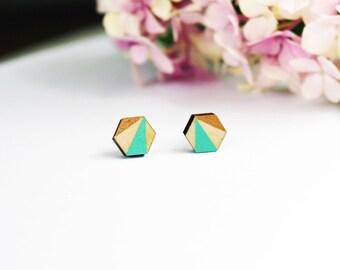 multicolor earrings, geometric wooden jewelry, wooden earrings, turquoise, brass, ear studs, painted, wooden jewelry, laser cut, birch wood