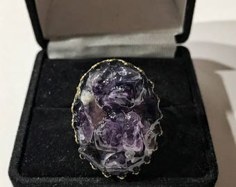 Antique bronze and amethyst adjustable ring