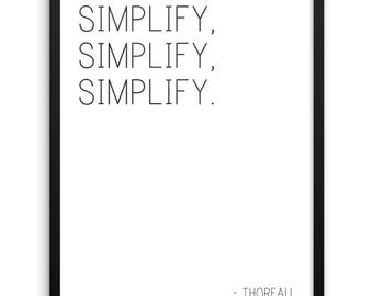 Simplify Digital Print | Henry David Thoreau Quote | Inspirational Quote Wall Art | 18x24 Printable Art | Instant Download | Walden Quote