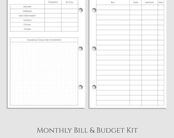 "Monthly Bills and Budget Kit Planner Inserts ~ Income, Expenses, Debt Payment Tracker ~ Half Letter / 5.5"" x 8.5"" / Mini 3-Ring (3RM-MBB)"