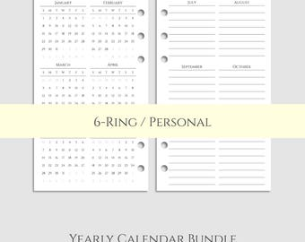 "Yearly Calendar Bundle ~ 2017 and 2018 Year-at-a-Glance & Important Dates to Remember ~ Personal / 3.7"" x 6.7"" for Filofax (P-YCB)"