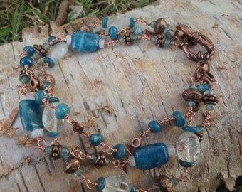 Apatite and Quartz Three Stranded Bracelet #160