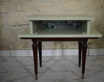 Green vintage nightstand / bedside compass feet / retro bedside table / refurbished bedside table / bedside redesigned / vintage Style / Scandinavian