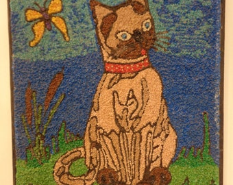 Vintage Mid- Century, Handmade Pebble Art, Cat with Cattails and Butterfly, Gravel Art