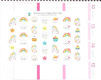 Happy Unicorn Rainbow Themed Stickers Erin Condren Life Planner ECLP Mambi Personal A5 Plum Spade Kikkik Kawaii Cute Funny Clouds Cupcake