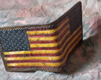 American flag wallet -- Distressed Leather Billfold Wallet --  Hand Tooled Billfold -- cowhide bi fold --  USA Made
