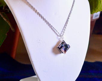 Bismuth Molten Metal Crystals Pendant - Handmade/Grown Metal Crystals in Sterling Silver