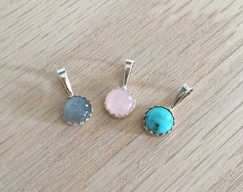 Sterling Silver & Gemstone Pendant, 6mm, turquoise, moonstone, rose quartz, gemstone jewelry, silver jewelry, healing gemstones, necklace