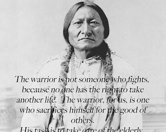 Large Portrait Of Sitting Bull With Quote, Native American