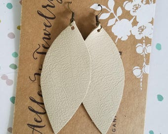 "Handmade Leather Earrings - Cream Beige - 3"" x 1.25"""