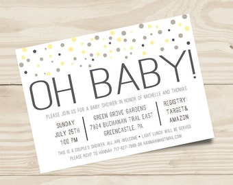 Oh Baby Yellow and Gray Gender Neutral Baby Shower Invitation | 7x5 Digital File