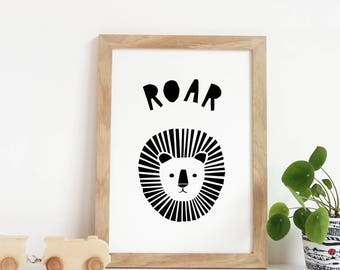 Printable Artwork, Digital Prints, Modern Wall Art, Lion Print, Black and White Art, Digital Download, Instant Download Art, Lion Art
