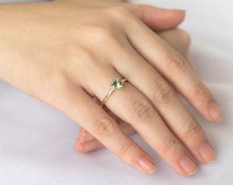 Green Tourmaline Ring, 14k Solid Yellow Gold Ring, Unique Alternative Engagement Ring, 0.90ct Round Cut Green Tourmaline Gemstone Ring