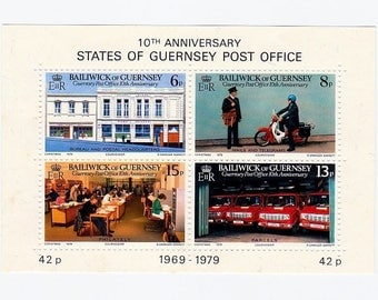 Four British Stamps-States of Guernsey Post Office-1979 Bailiwick 10th Anniversary Postage-Postman Scooter-Trucks-Craft Supply-Scrapbooking