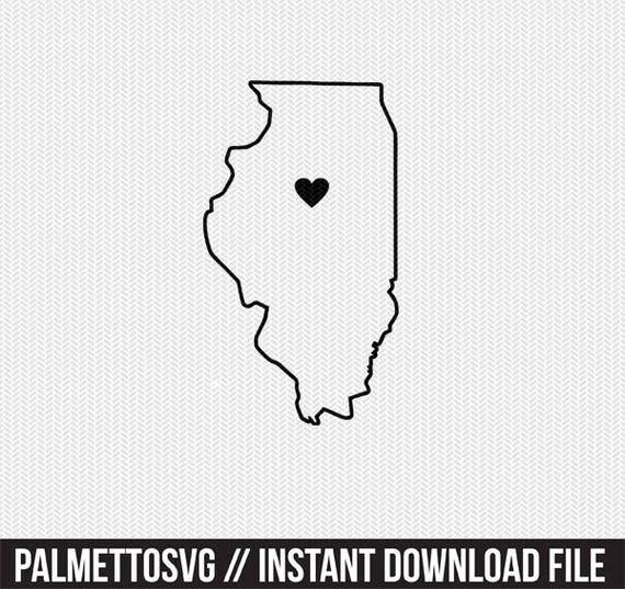 illinois state outline heart svg dxf file stencil monogram