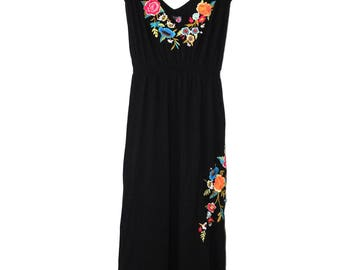 Johnny Was Long Black Floral Embroidered XL Dress