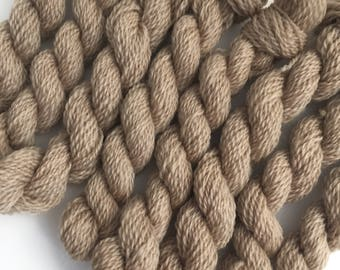 Hand dyed embroidery yarn | plant dyed | tan brown | embroidery wool | wool | laceweight knitting | cross stitch | tapestry | weaving