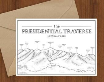 Presidential Traverse greeting card - New Hampshire, 4000 footers illustrated hiking, Appalachian Trail, presi traverse, Mt Washington, AT