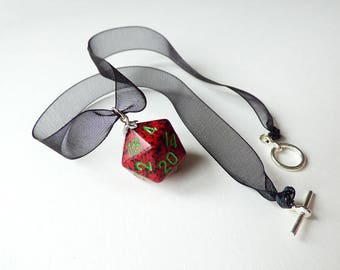 Strawberry - Dungeons and Dragons D20, Necklace, Pendant, black, red, green, silver, RPG, D&D, Jewellery, Dice, ribbon, choker, dnd