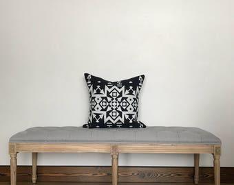 "Pendleton Wool Pillow Cover 19""x19""  Pendleton wool, black and white wool pillow, throw pillow"