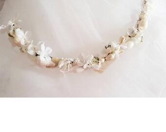 White Shell & Flower Hair Wrap
