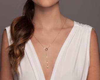 Gold or Silver Pearl Lariat Necklace, Long Pearl Necklace, Adjustable Pearl Necklace, Long Freshwater Pearl Necklace, Gold Lariat
