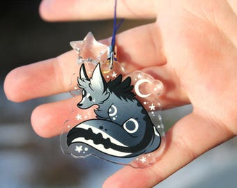 Soundwave the Wolf - Acrylic Charm 1.5 Doublesided Cute Furry Keychain Cellphone Strap