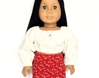 Pencil Skirt, Floral Red, White, Black, Fits dolls such as American Girl, 18 inch Doll Clothes