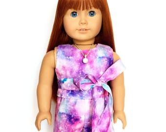 Print Shorts, Outer Space, Galaxy, Luciana, Purple, Pink, Fits dolls such as American Girl, 18 inch Doll Clothes, Mix and Match, GOTY