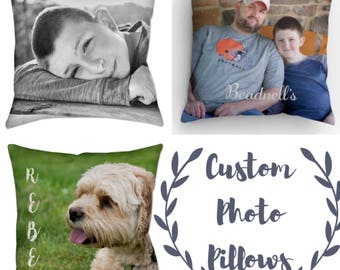Custom Photo Pillow - Your Photo on Pillows - Pet Children or Family Photos on Pillow - Custom Gifts - Mothers Day Gifts