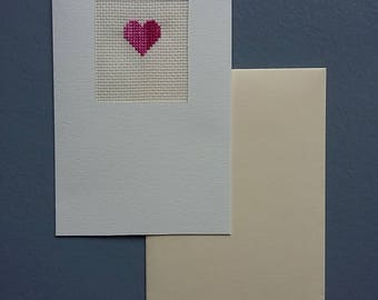 Embroidered card envelope with heart motif