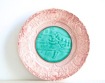 Antique Majolica Plate Villeroy Boch in Turquoise and Pink With Image of Girl and Doll, Vintage Wall Plate