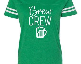 Brew Crew Ladies v-neck tee, St. Patricks day shirt, St. Patricks day, Shenanigans shirt, Brew crew tee, Funny st. Patricks shirt