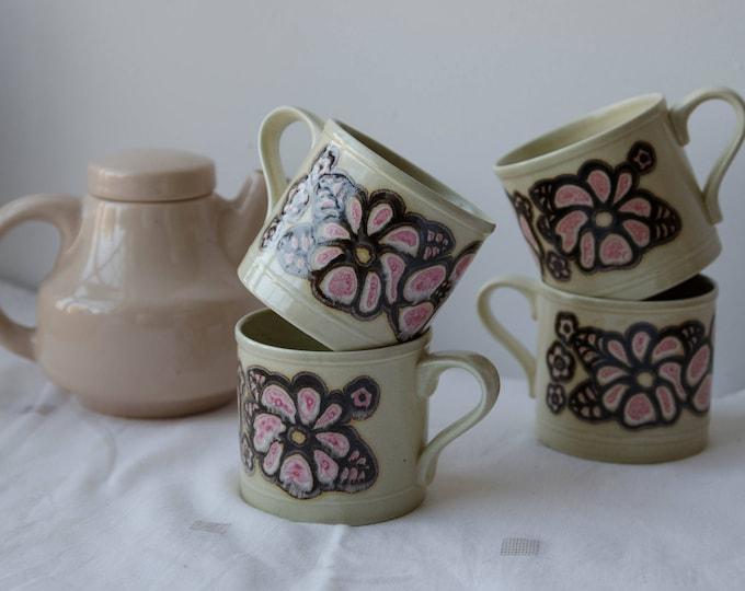 Vintage set of 4 cups, ceramic