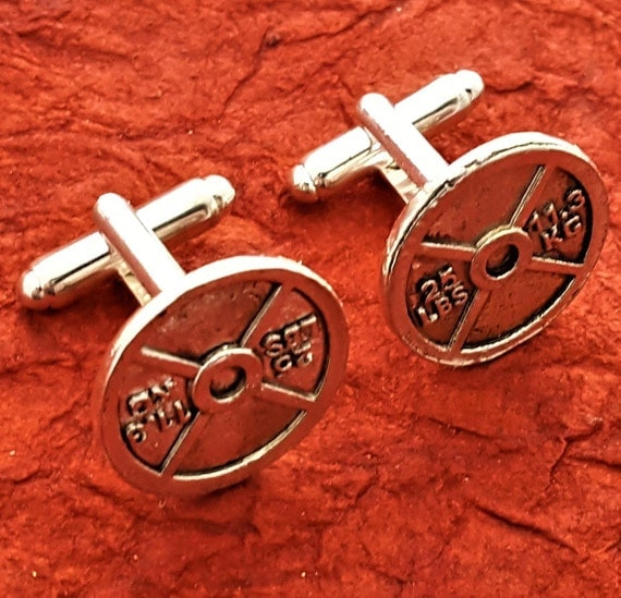 Fitness Gifts Men, CrossFit Gifts, Men's Jewelry, Bodybuilding Barbell Gifts, Weightlifter Cufflinks, Weight Plate Cuff Links, Sports Charms
