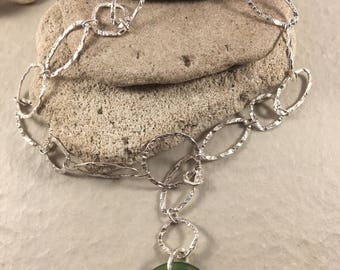 Sea Green Go-Go/Donut Sea Glass and Hammered Sterling Silver Necklace