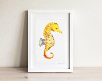 Seahorse Art, Kids Seahorse Art, Seahorse Print, Nautical Kids Art, Ocean Wall Art, Nursery Beach Art, Kids Beach Art, Kids Prints, Framed