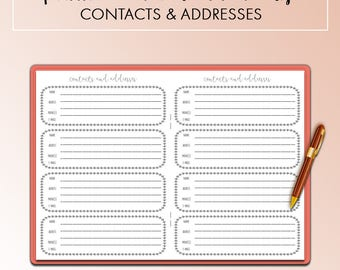 Traveler's Notebook B6 Contacts and Addresses Address Book Insert Printable
