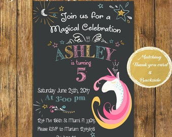 Digital file or Printed Unicorn Birthday Invitation-Unicorn Party Invite-Magical Birthday-Chalkboard Birthday Invitation-Free Shipping