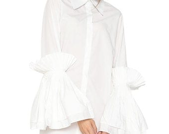 Snow In Summer Dress White Ruffle Shirt Cotton Shirt