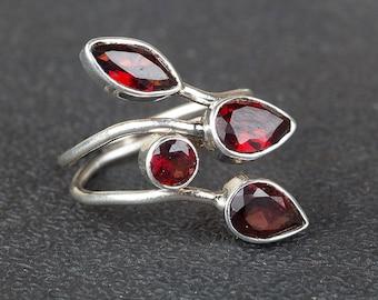 Garnet Ring, 925 Sterling Silver Ring, January Birthstone Ring,Red Garnet Ring, Statement Ring, Boho Ring, Trending Ring, Silver Garnet Ring