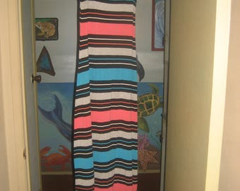 Turquoise/Peach/Gray/Black/White Stripes Stretchy Long Dress