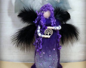 Beautiful purple, lilac, blue, grey, handmade UK, Waldorf inspired, fibre art, needle felted, soft sculpture, merino wool, felt fairy.