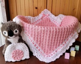 Crochet Baby Girl Blanket and Hat Set, Baby Shower Gift