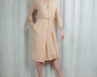 1970s does 1940s Delicate Crepe dress with dangle buttons - Small