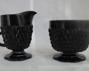 Black Cameo (pedestal) creamer and open sugar - Tiara diamond point