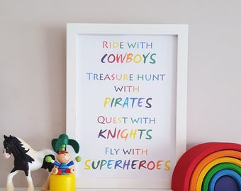 Boy's Nursery Print - Adventure Wall Art - Rainbow Playroom Wall Decor - Superhero Bedroom Art - Pirate Poster - Children's Adventure Print