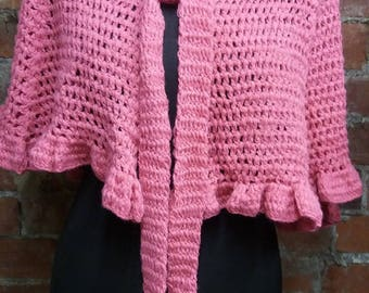 1960s Vintage Pink Shawl / Poncho