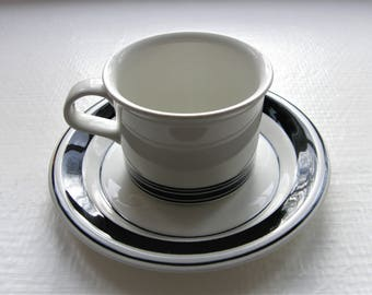 Arabia Finland: FAENZA Black Stripe Series, A Set Of Two Large Coffee Cups And Two Saucers Designed By Peter Winquist